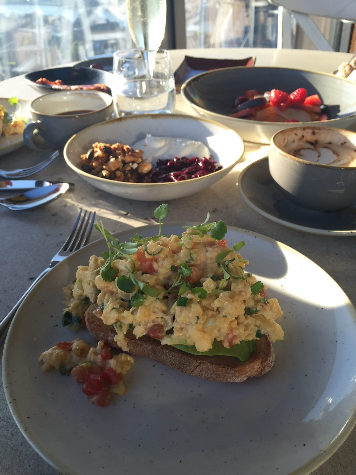 Breakast at duck and waffle