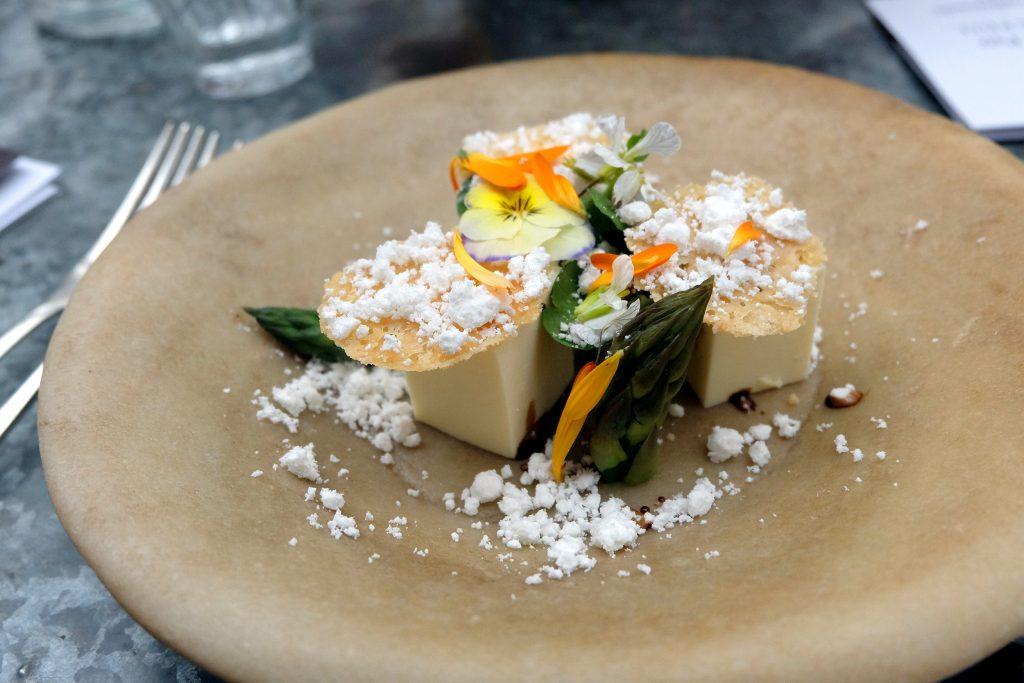 Parmigiano Reggiano terrine, asparagus, flowers