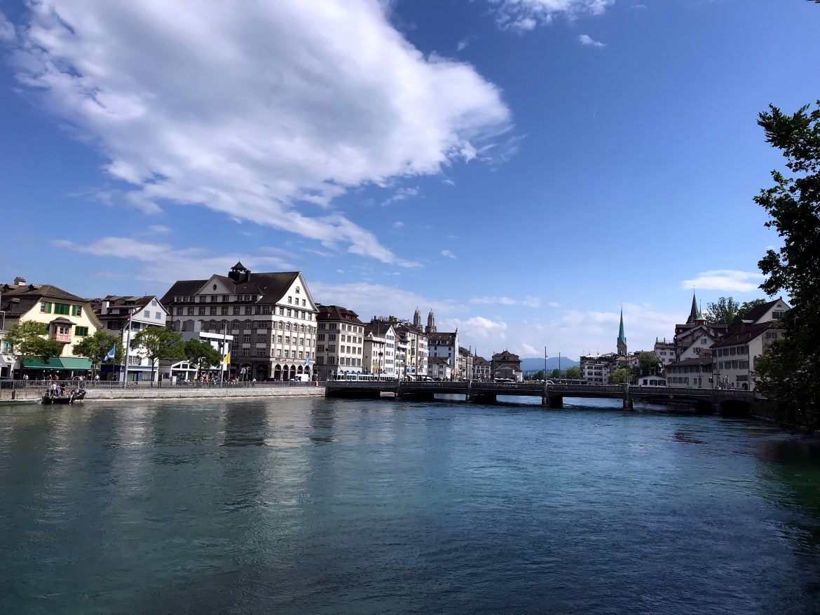 Zurich river on a hot summer day