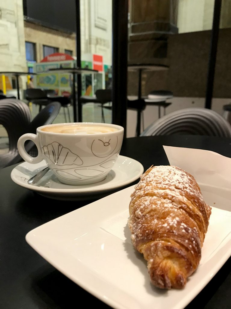 Italian breakfast pastry and cappuccino
