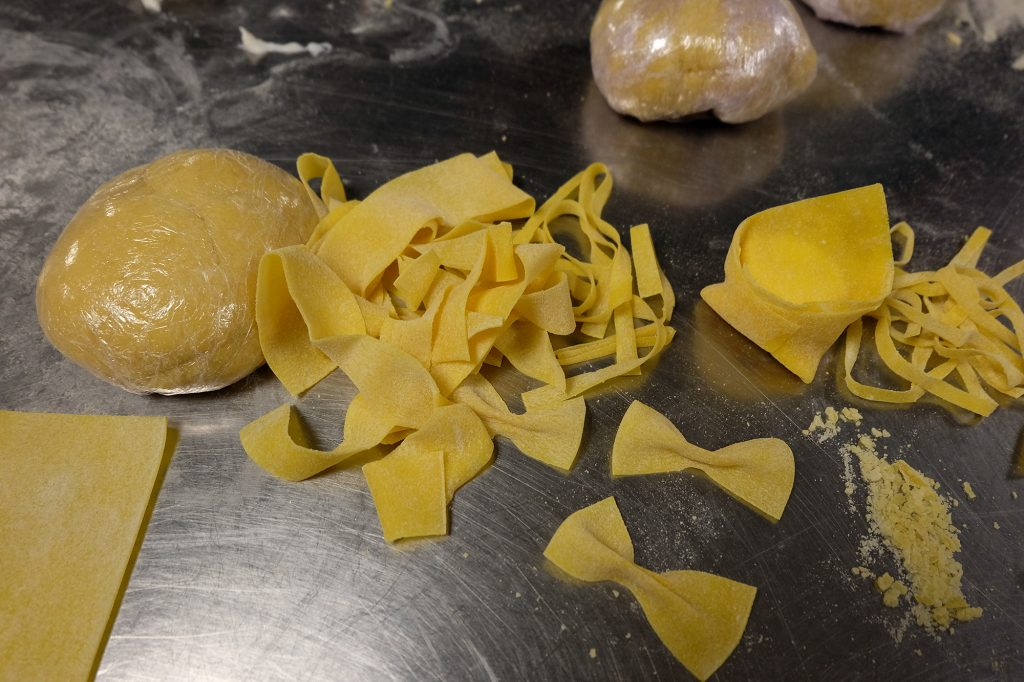 Freshly made pasta on a kitchen counter