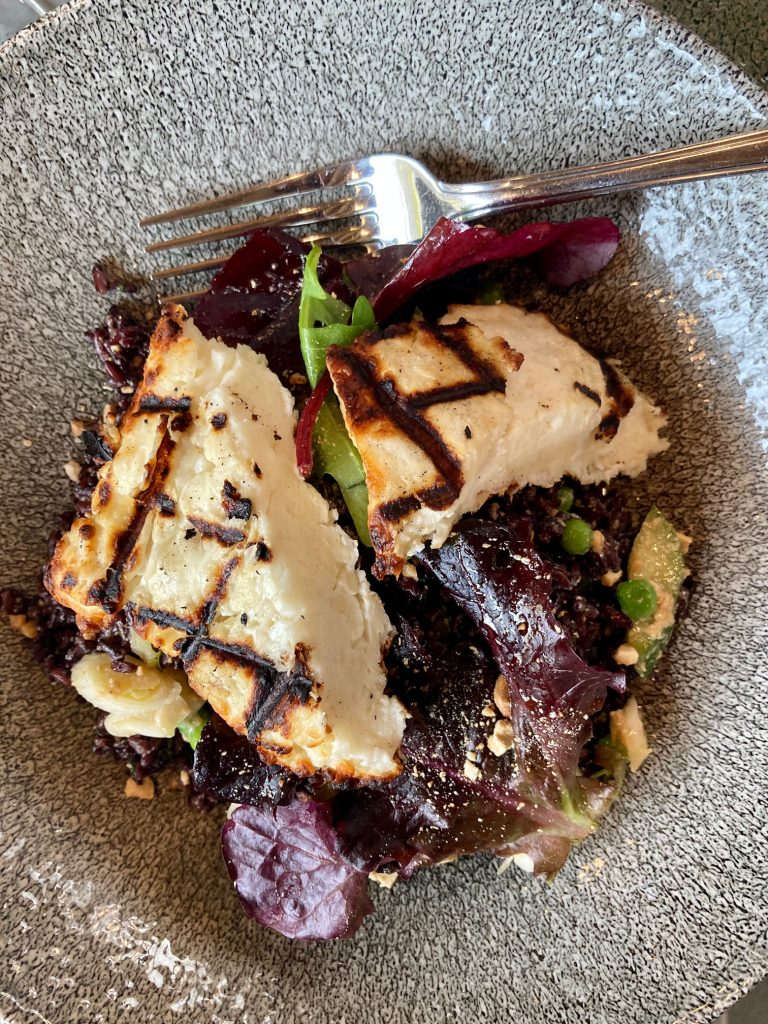 Halloumi and black rice salad at the Green Room